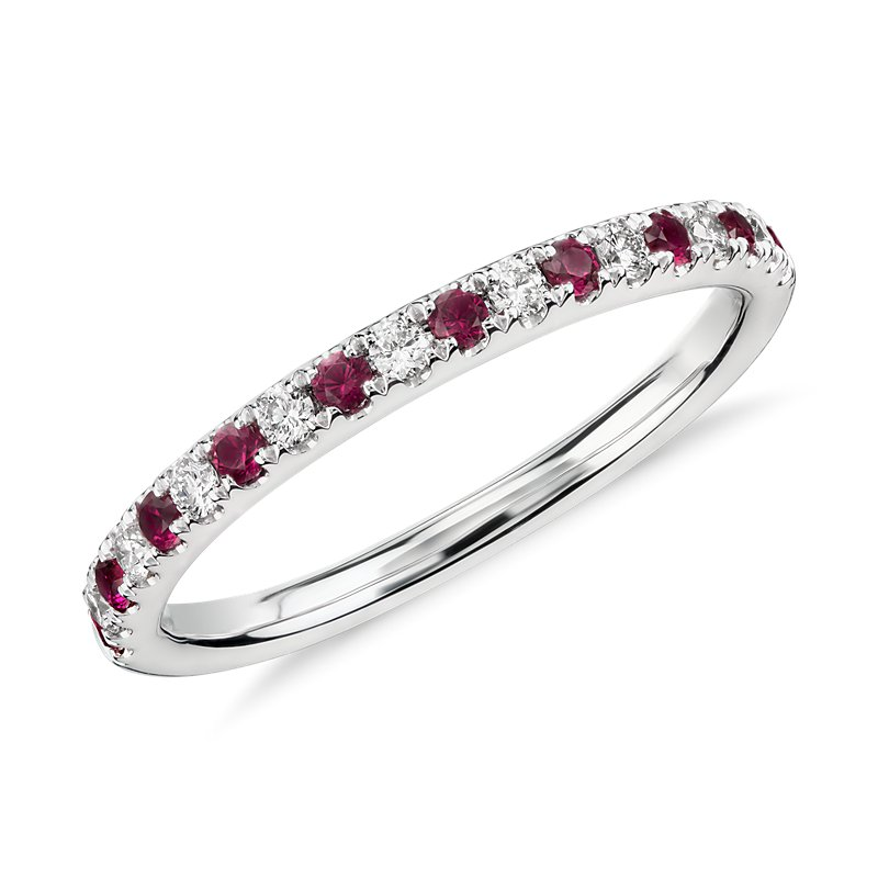 Riviera Pavé Ruby and Diamond Ring in 14k White Gold (1.5m