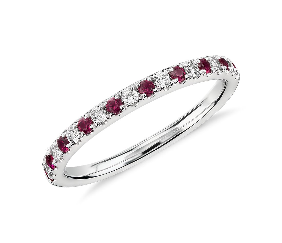 Riviera Pavé Ruby And Diamond Ring In 14k White Gold (15mm)