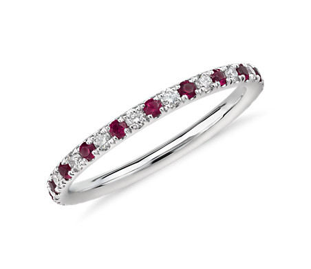Riviera Petite Pavé Ruby and Diamond Eternity Ring in 14K White Gold (1.5 mm)