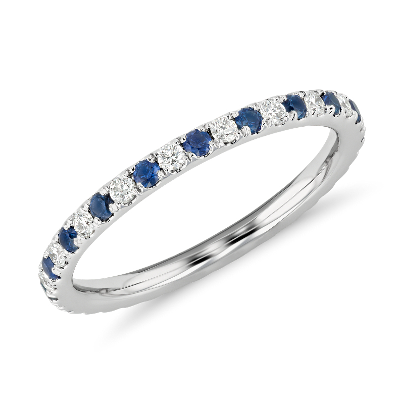 Riviera Pavé Sapphire and Diamond Eternity Ring in 14k Whi