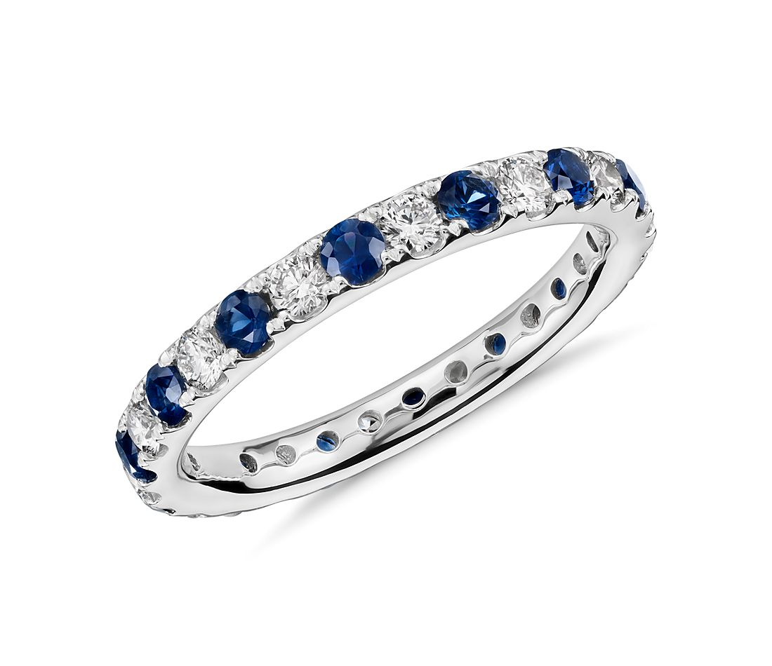 Riviera Pavé Sapphire and Diamond Eternity Ring in Platinum (2/3 ct. tw.)