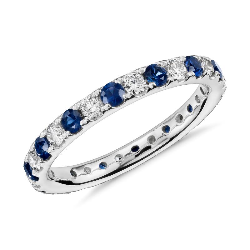 Riviera Pavé Sapphire and Diamond Eternity Ring in Platinu