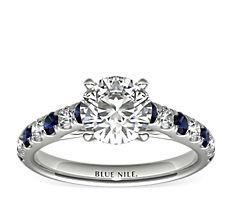 铂金 Riviera 密钉蓝宝石与钻石订婚戒指