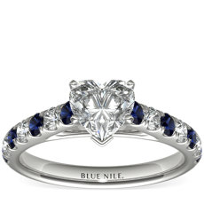 鉑金Riviera 密釘藍寶石與鑽石戒指
