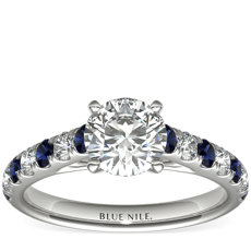 Riviera Pavé Sapphire and Diamond Engagement Ring in Platinum