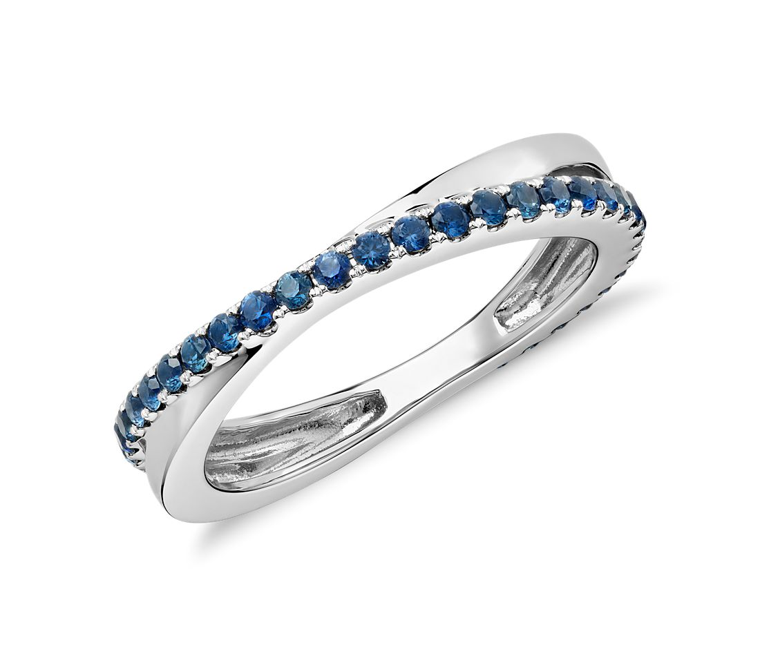 Riviera Pav 233 Sapphire Infinity Eternity Ring In 14k White