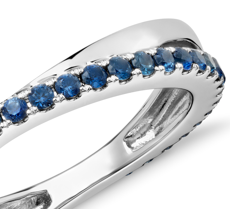 Riviera Pavé Sapphire Infinity Eternity Ring in 14k White Gold (1.5mm)