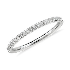 Riviera Petite Micropavé Diamond Eternity Ring in Platinum (1/4 ct. tw)