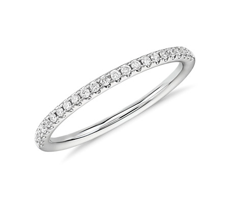 Riviera Petite Micropavé Diamond Ring in 14k White Gold (1/10 ct. tw.)