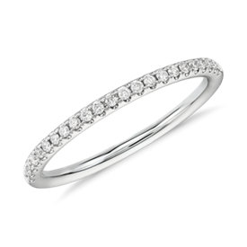 Riviera Petite Mircopavé Diamond Ring in 14k White Gold