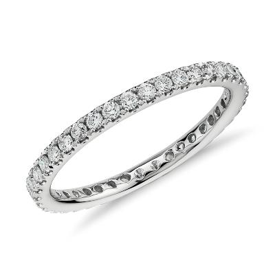 Riviera Pav Diamond Eternity Ring in 14k White Gold 12 ct tw