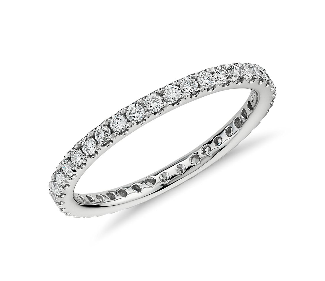 Riviera Pave Diamond Eternity Ring In 14k White Gold 1 2 Ct Tw