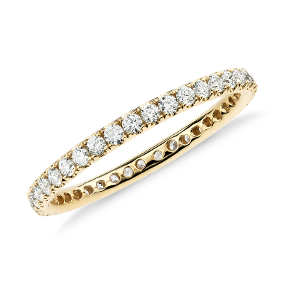 Riviera Pav Diamond Eternity Ring in 18k Yellow Gold 12 ct tw