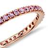 Riviera Pavé Pink Sapphire Eternity Ring in 18k Rose Gold (1.5mm)