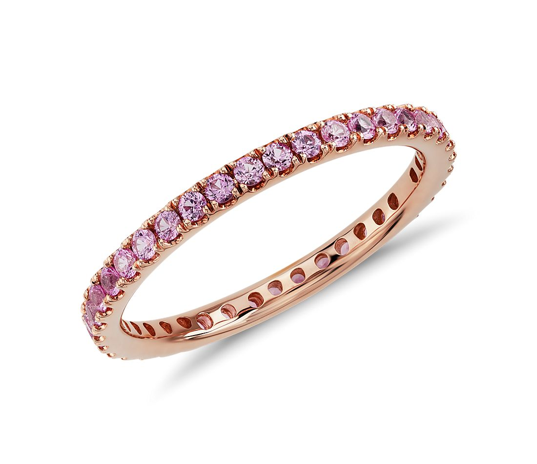 Riviera Pave Pink Sapphire Eternity Ring In 18k Rose Gold 15mm