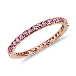 Bague d'éternité saphir rose pavé Riviera en or rose 18carats (1,5mm)