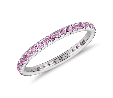 Riviera Pavé Pink Sapphire Eternity Ring in 18k White Gold (1.5mm)