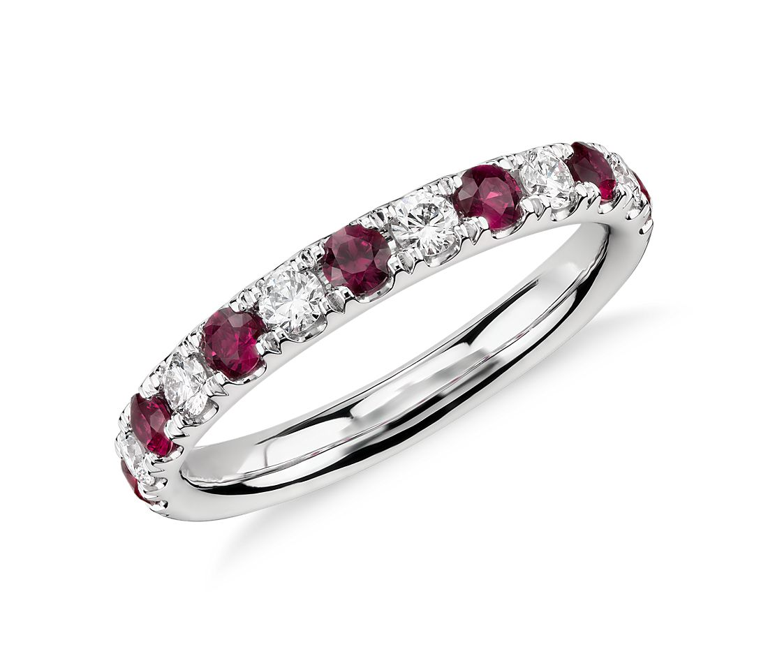 Riviera Pavé Ruby And Diamond Ring In Platinum (22mm)