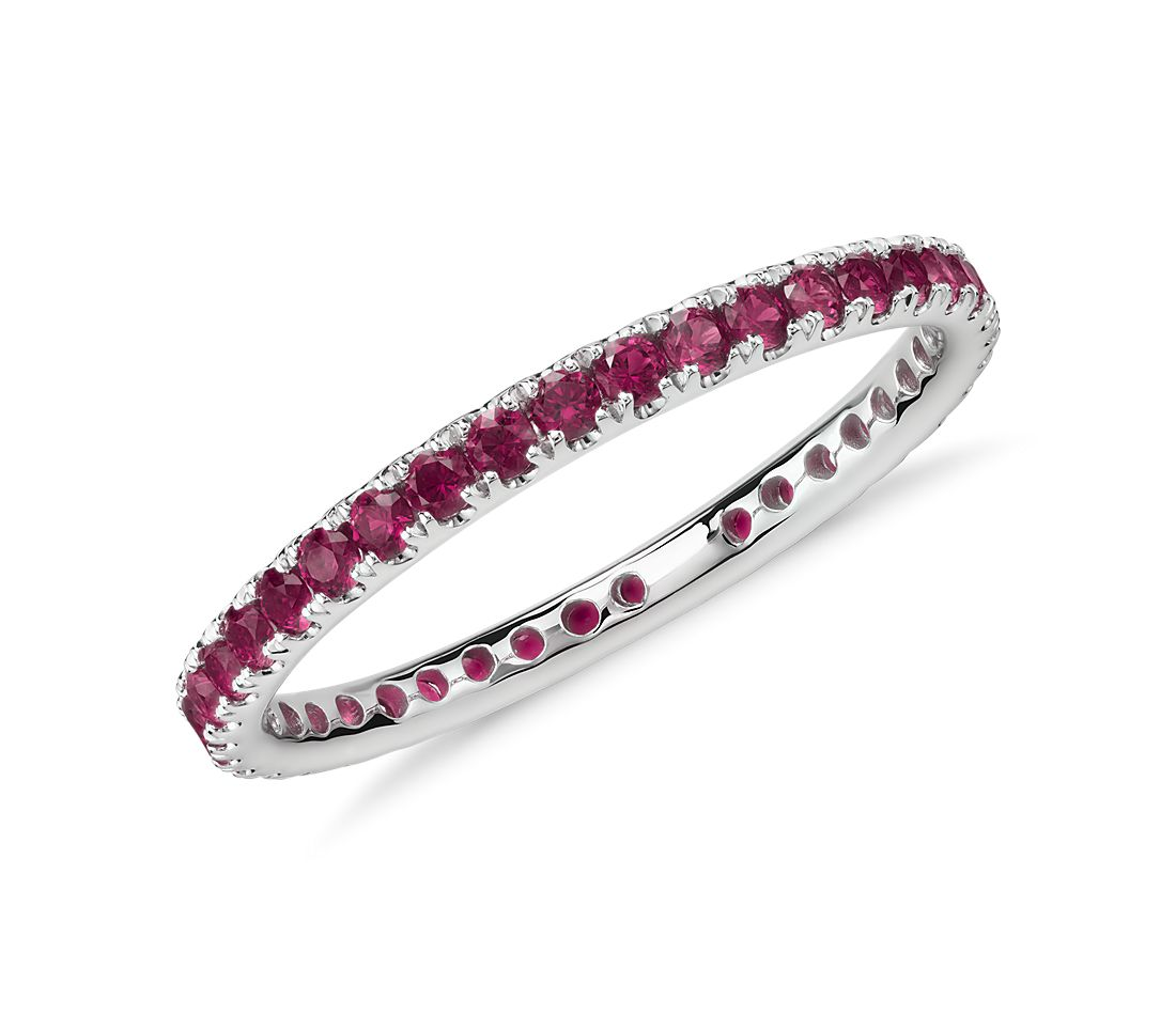 Riviera Pavé Ruby Eternity Ring in 18k White Gold (1.5mm)