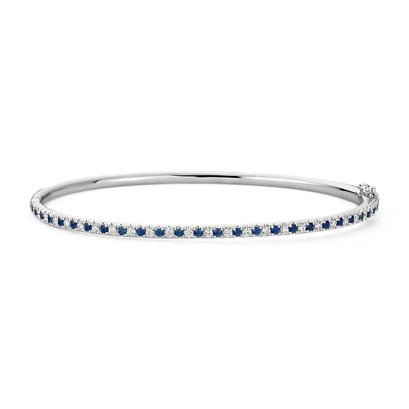 Riviera Pavé Sapphire and Diamond Bangle Bracelet in 14k W