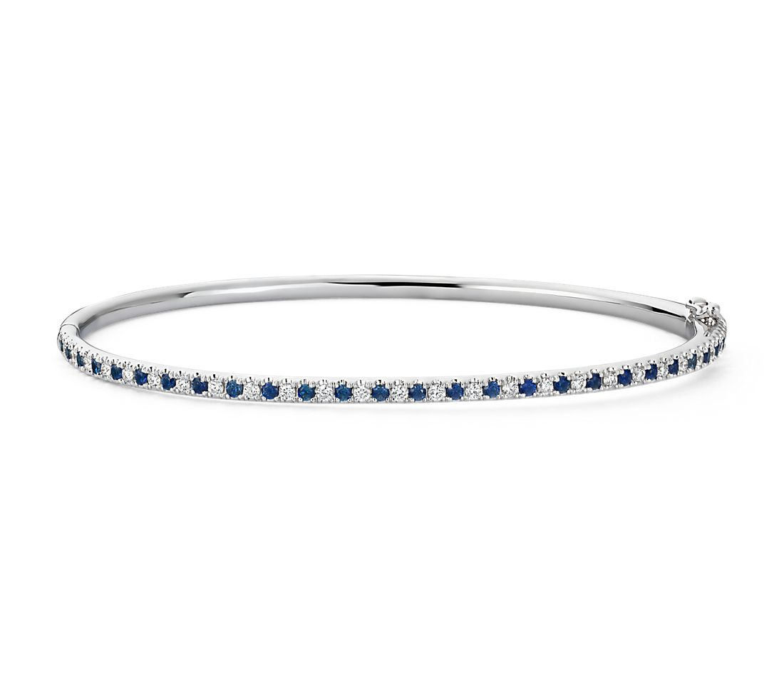 Riviera Pavé Shire And Diamond Bangle Bracelet In 14k White Gold 1 5mm