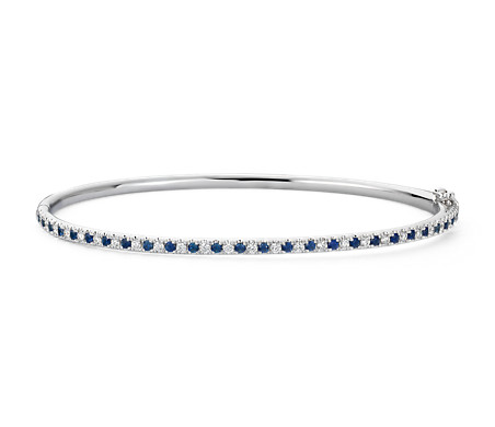 Riviera Pavé Sapphire and Diamond Bangle Bracelet in 14k White Gold (1.5mm)
