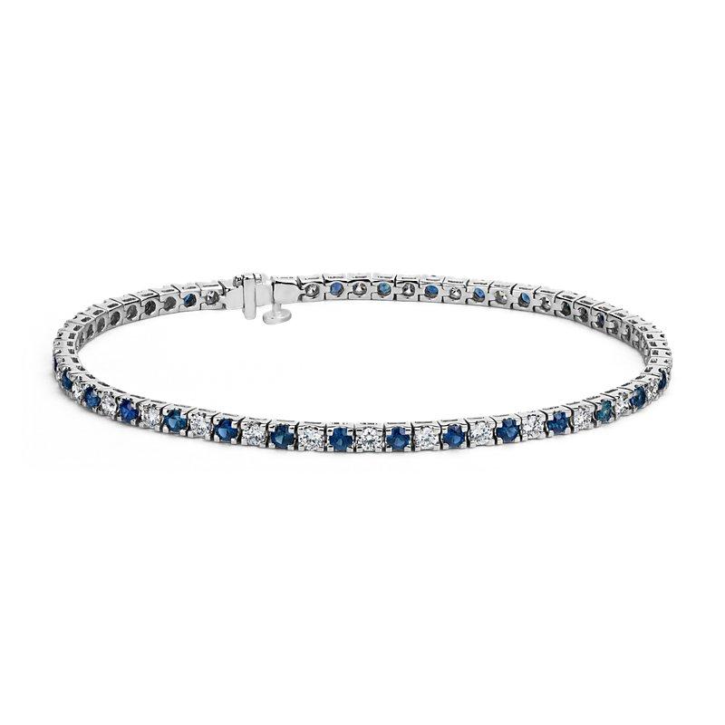 Riviera Sapphire and Diamond Bracelet in 14k White Gold (2.2mm)