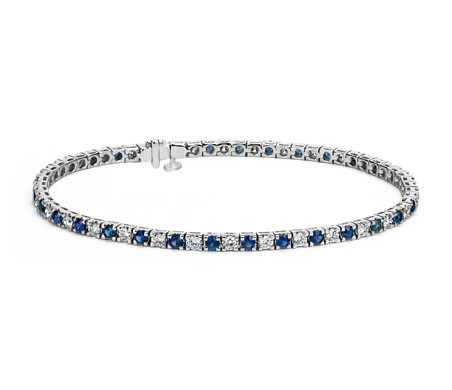 Bracelet diamants et saphirs Riviera en or blanc 14 carats (2,2 mm)