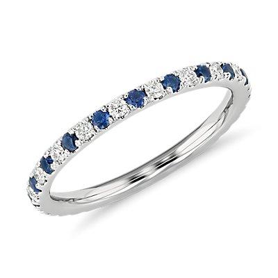 Bague d'éternité diamants et saphirs sertis pavé Riviera en platine (1,5mm)