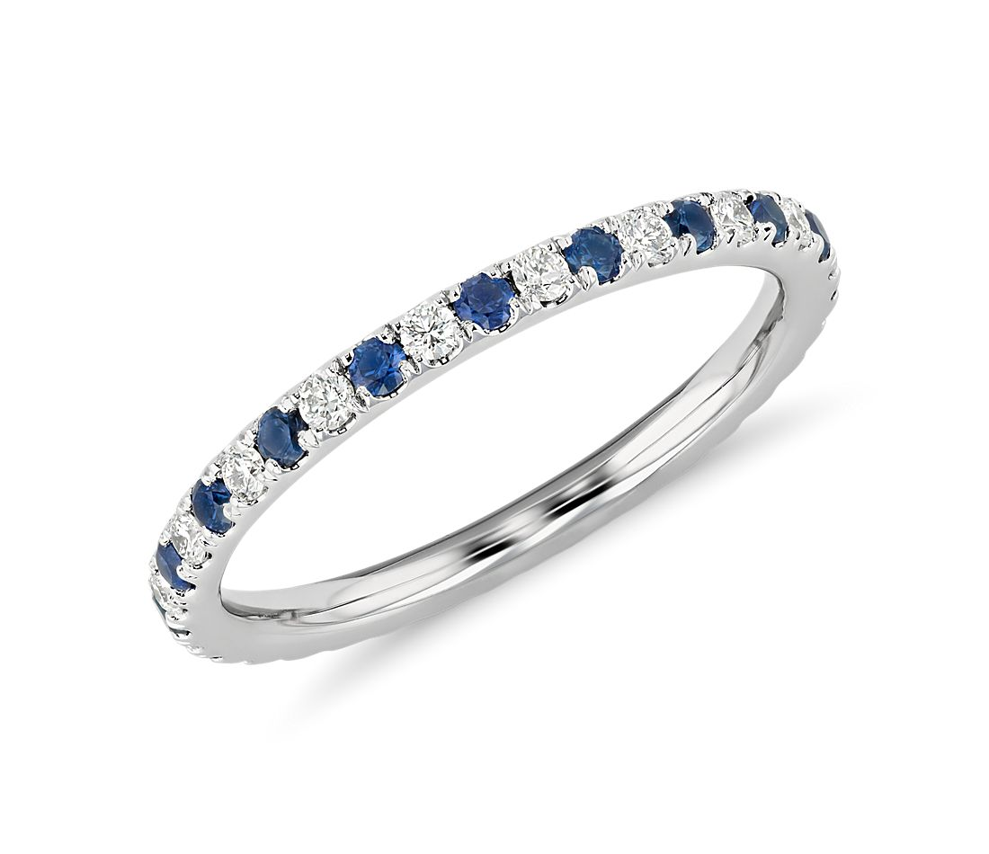 Riviera Pavé Sapphire and Diamond Eternity Ring in Platinum (1.5mm)