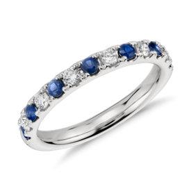 鉑金 Riviera 密釘藍寶石與鑽石戒指<br>( 2.2毫米)