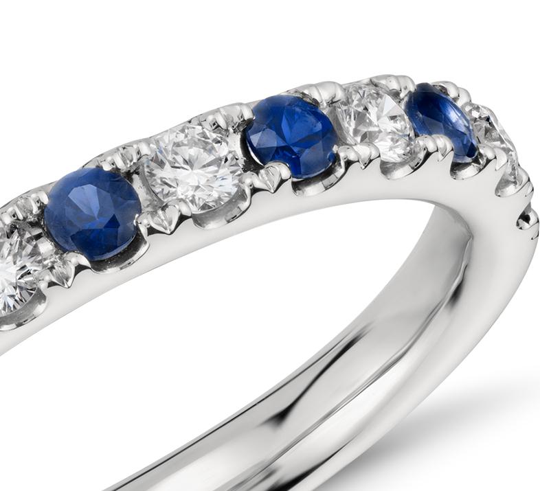Bague diamant et saphir pavé Riviera en platine (2,2mm)