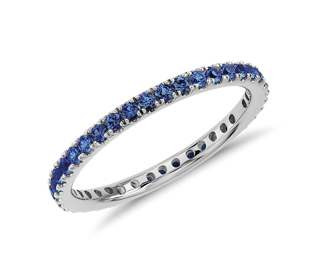 Riviera Pav 233 Sapphire Eternity Ring In 18k White Gold 1