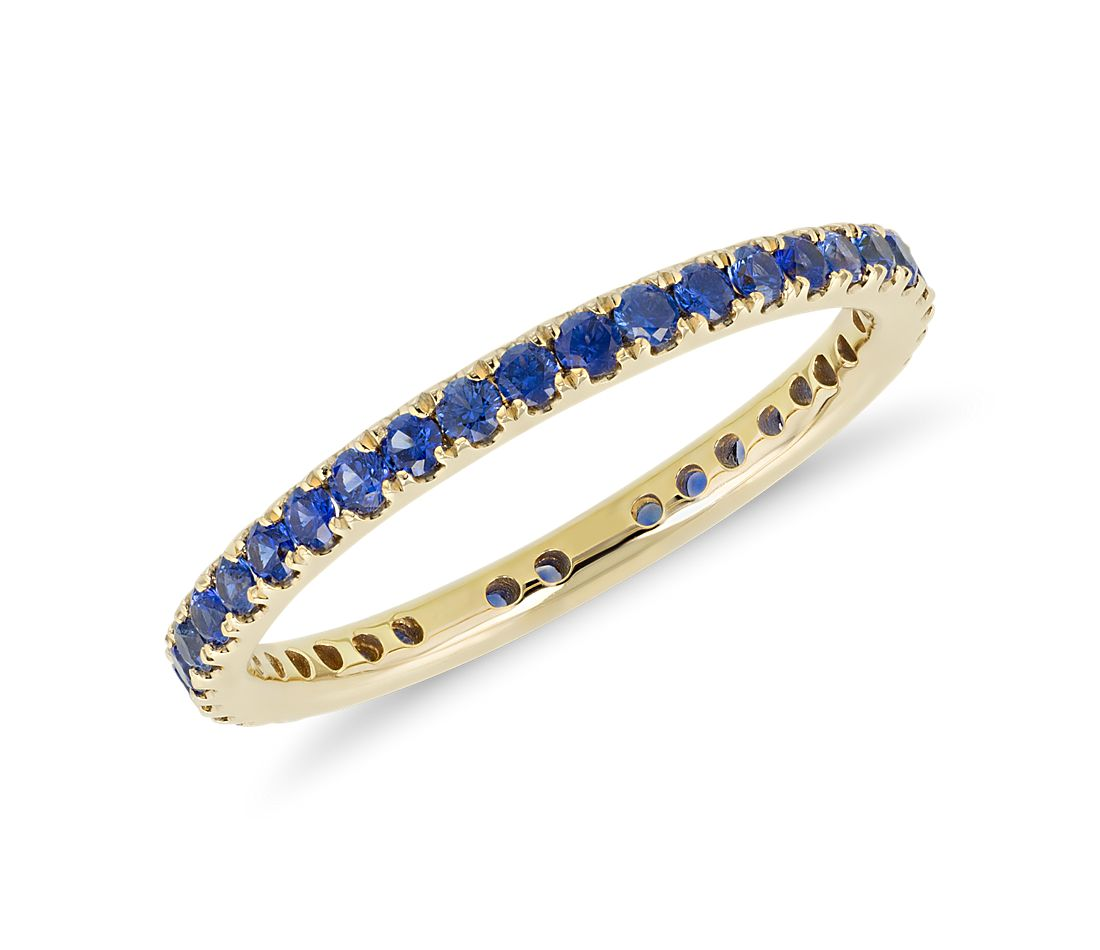Riviera Pavé Sapphire Eternity Ring in 18k Yellow Gold (1.5mm)