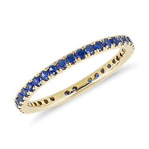 NEW Riviera Pavé Sapphire Eternity Ring in 18k Yellow Gold (1.5mm)