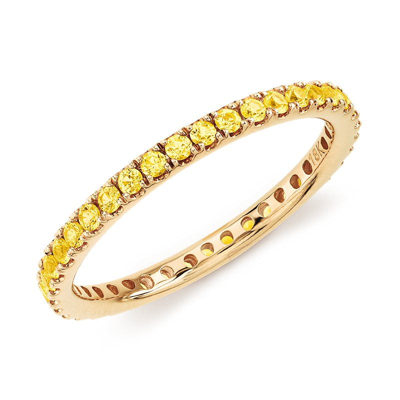 Riviera Pavé Yellow Sapphire Eternity Ring in 18k Yellow G