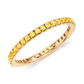 NEW Riviera Pavé Yellow Sapphire Eternity Ring in 18k Yellow Gold (1.5mm)