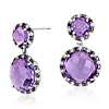 Robert Leser Amethyst and Diamond Drop Earring in 14k White Gold (9x9mm)