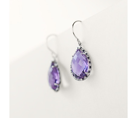 Robert Leser Amethyst and Diamond Pear Drop Earring in 14k White Gold (15x10mm)
