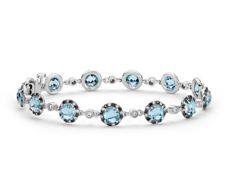 Blue Nile Petite Blue Topaz, Sky Blue Topaz and Peridot Bar Bracelet in 14k Yellow Gold