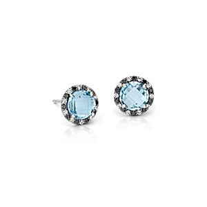 Aretes de topacio azul con halo de diamantes de Robert Leser en oro blanco de 14 k 6x6mm