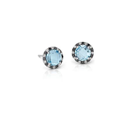 Robert Leser Blue Topaz and Diamond Halo Stud Earring in 14k White Gold (6x6mm)