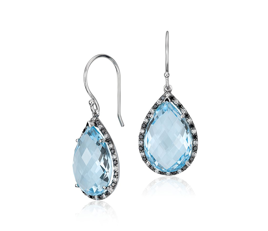 Robert Leser Blue Topaz and Diamond Pear Drop Earring in 14k White Gold (15x10mm)