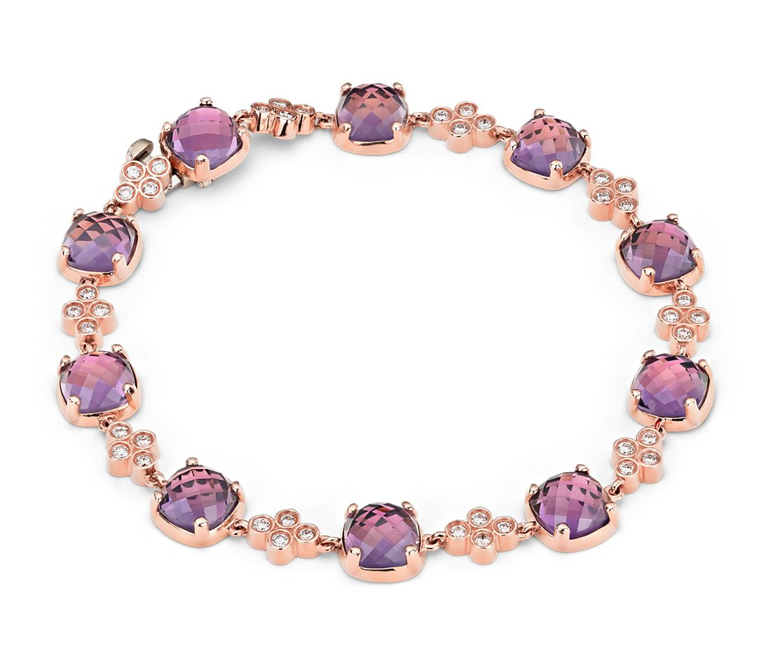 Robert Leser Trinity Amethyst and Diamond Bracelet in 14K Rose Gold