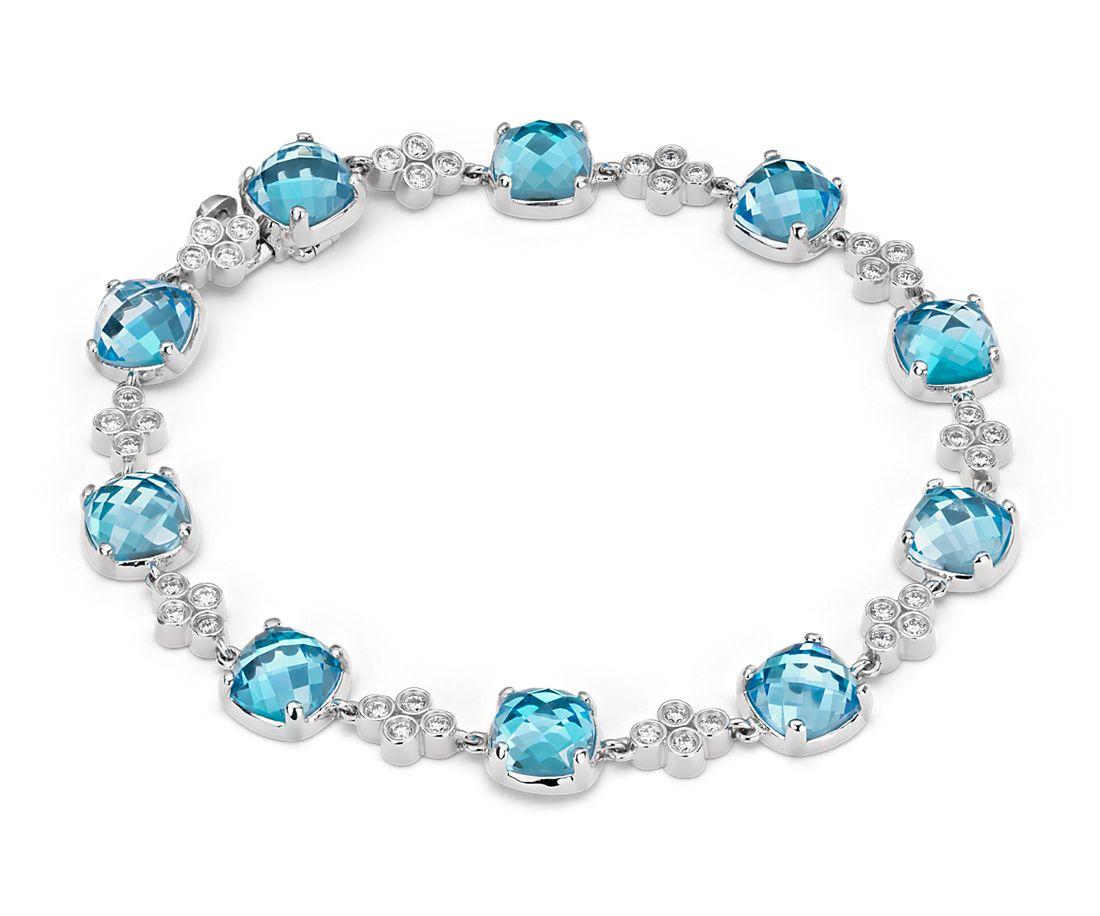 Robert Leser Trinity Blue Topaz and Diamond Bracelet in 14K White Gold (7x7mm)
