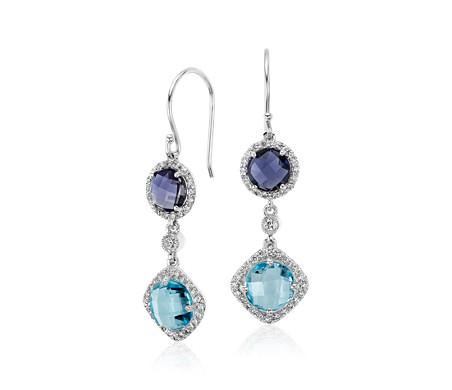 Robert Leser Multicolor Gemstone Confetti Earrings in 14k