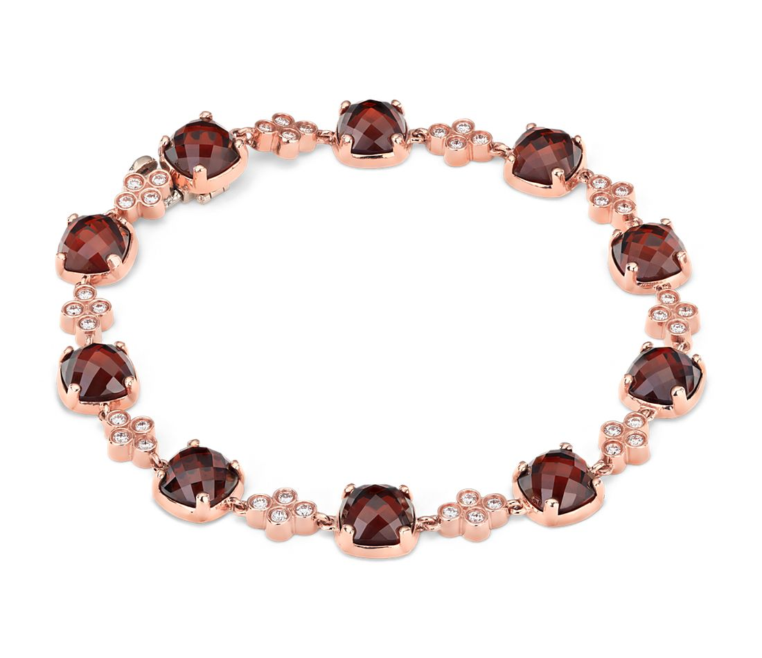 Robert Leser Garnet and Diamond Bracelet in 14K Rose Gold (7x7mm)