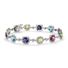 Robert Leser Multi-Gemstone Confetti Halo Bracelet in 14k White Gold (6mm)