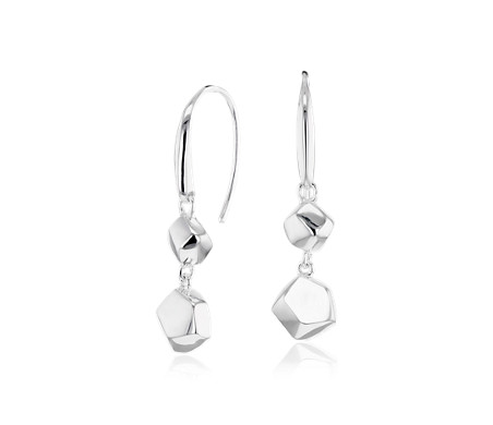 Rokk Double Drop Earrings in Sterling Silver