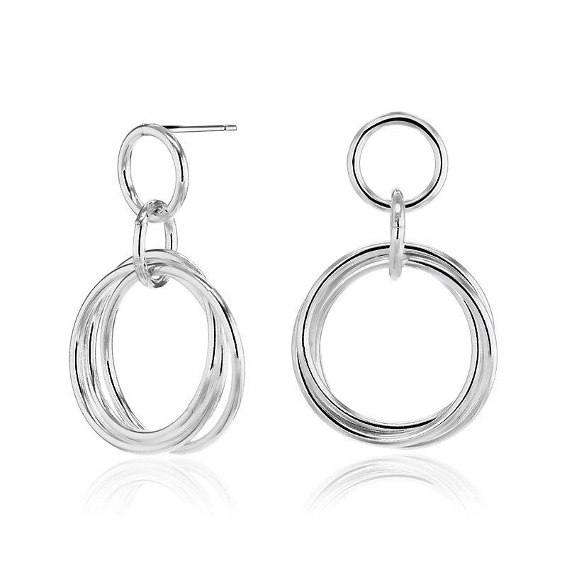 Rolling Ring Hoop Earrings in Sterling Silver